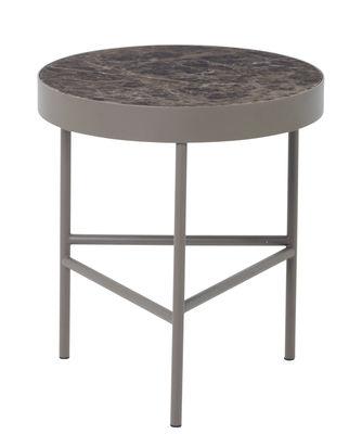 Table basse Marble / Medium - Ø 40 x H 45 cm - Ferm Living marron en métal/pierre