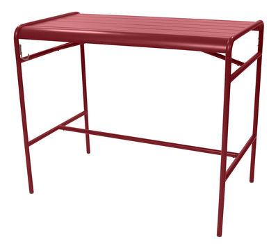 Table haute Luxembourg / 4 personnes - 126 x 73 cm - Aluminium - Fermob piment en métal