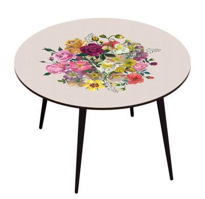 Mobilier - Tables - Table Royal Bouquet / Ø 120 cm - BAZAR THERAPY - Beige / Fleurs multicolores - Hêtre teinté, Stratifié imprimé
