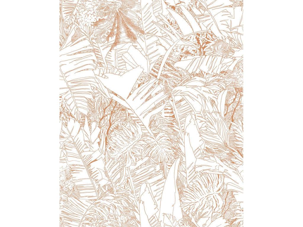 tapete jungle kupferfarbene motive auf weissem grund madeindesign 275097 original - Kupferfarbene Tapete