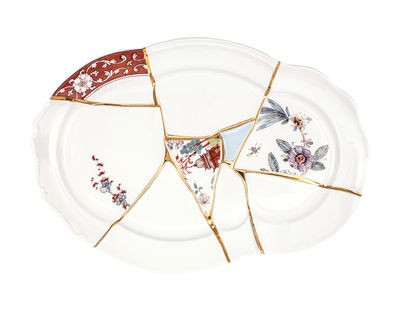 Tableware - Trays - Kintsugi Tray - / Porcelaine & or fin by Seletti - Blanc & or / Motifs multicolores - China, Gold