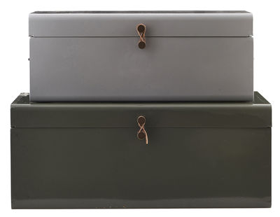 Decoration - Children's Home Accessories - Metal Trunk - Set of 2 - 60 x 36 cm by House Doctor - Grey / Kaki green - Lacquered metal, Leather