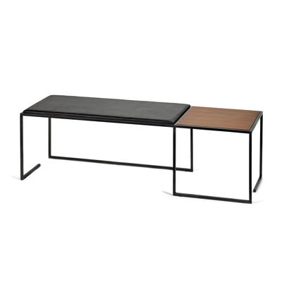 Furniture - Benches - Andrea Bench - / L 140 cm – Leather & wood by Serax - Black leather / Wood - Leather, Steel, Wood