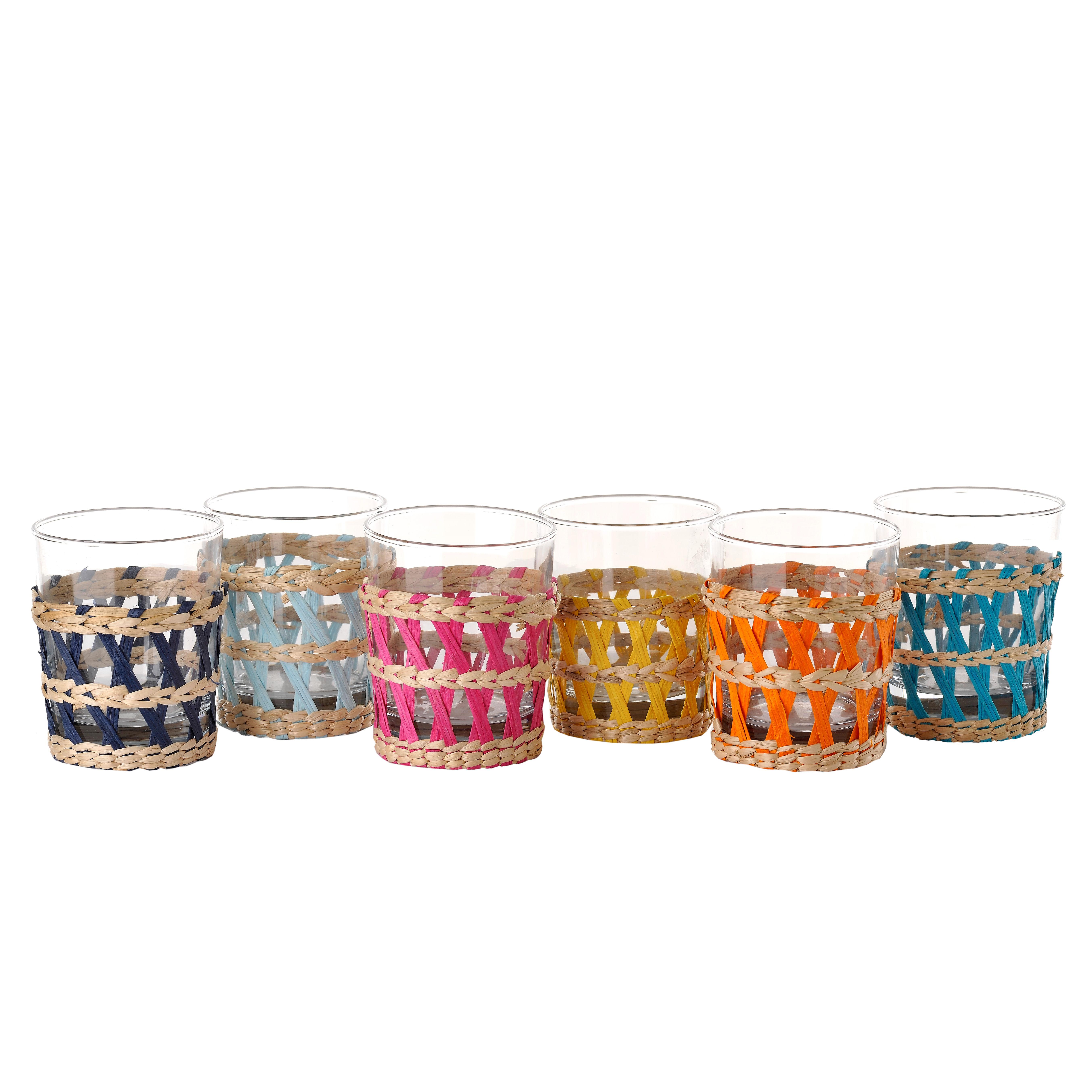 Tavola - Bicchieri  - Bicchiere da acqua Reed - / Set da 6 - Bicchiere & Vimini di Pols Potten - Vimini colorato & Trasparente - Vetro, Vimini