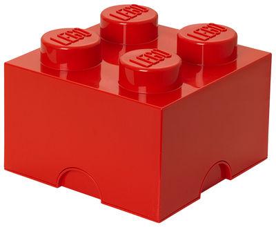 Déco - Pour les enfants - Boîte Lego® Brick / 4 plots - Empilable - ROOM COPENHAGEN - Rouge - Polypropylène