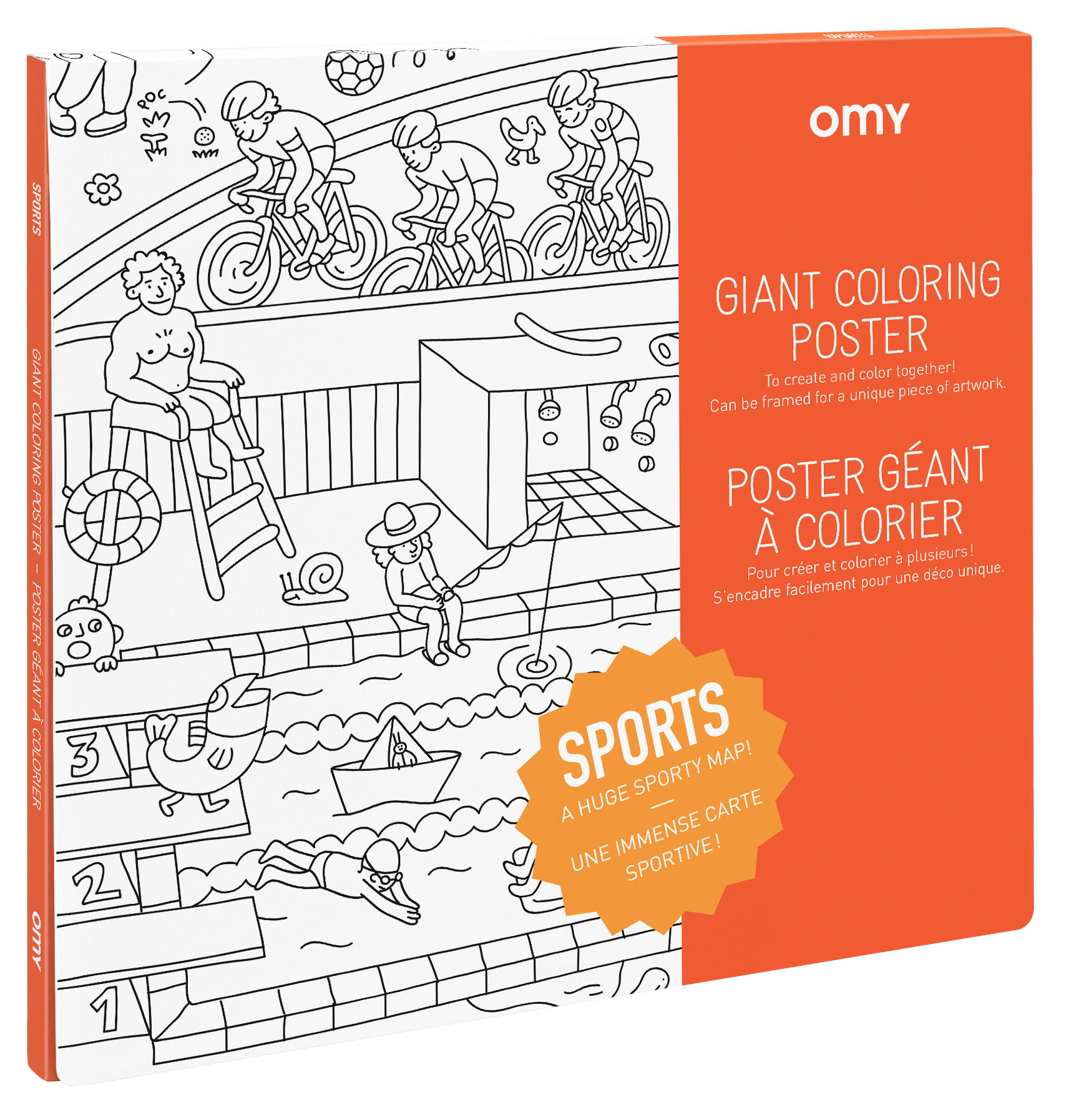 Decoration - Children's Home Accessories - Sport Colouring poster - / 100 x 70 cm by OMY Design & Play - Sport - Papier recyclé