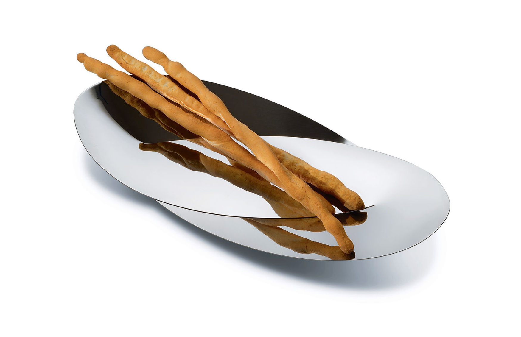 Arts de la table - Corbeilles, centres de table - Corbeille Octave / Pour pain ou grissini - L 41.5 cm - Alessi - Acier poli - Acier inoxydable 18/10
