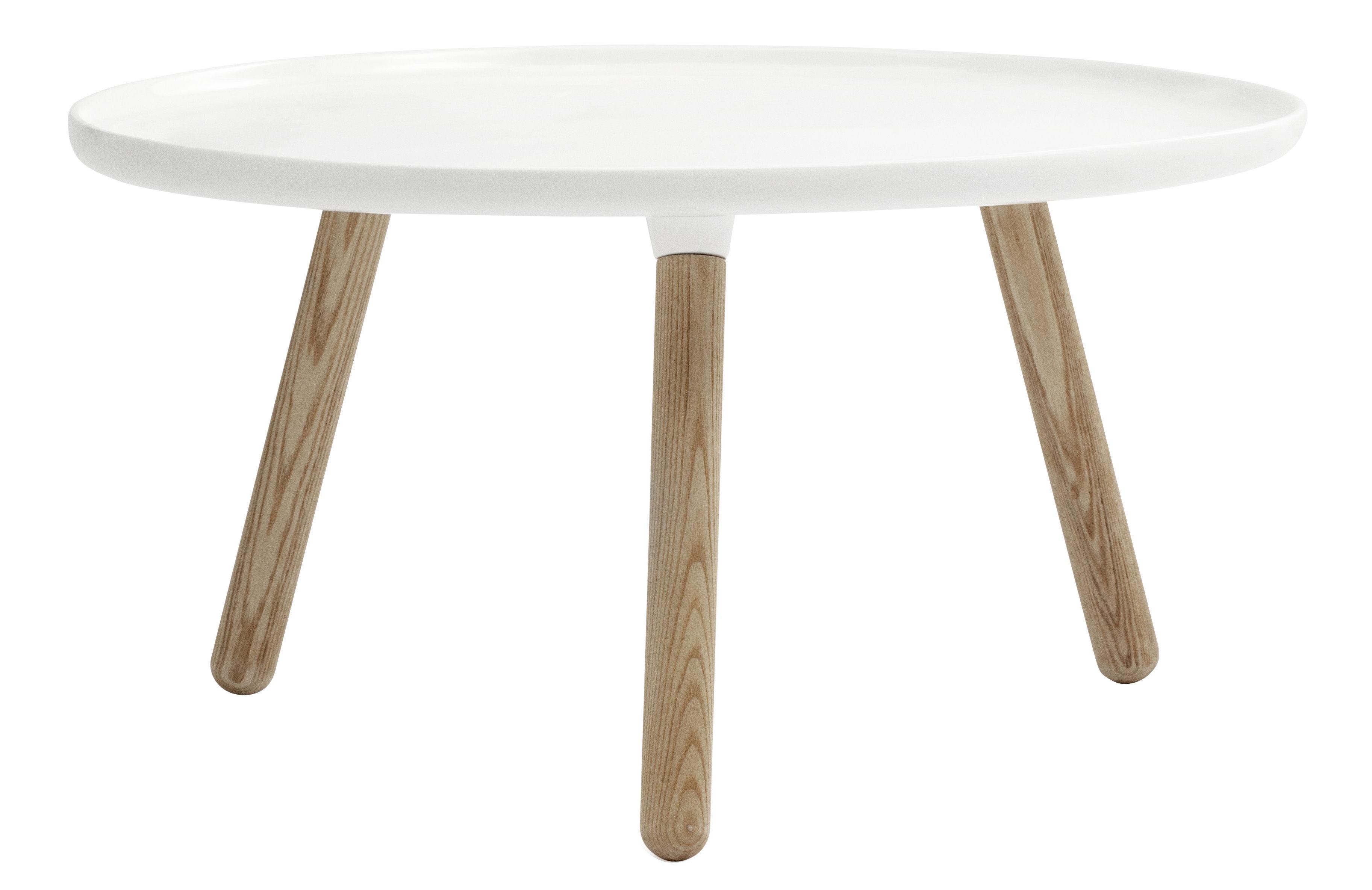 Möbel - Couchtische - Tablo Large Couchtisch Ø 78 cm - Normann Copenhagen - Weiß - Frêne naturel, Verbund-Werkstoffe