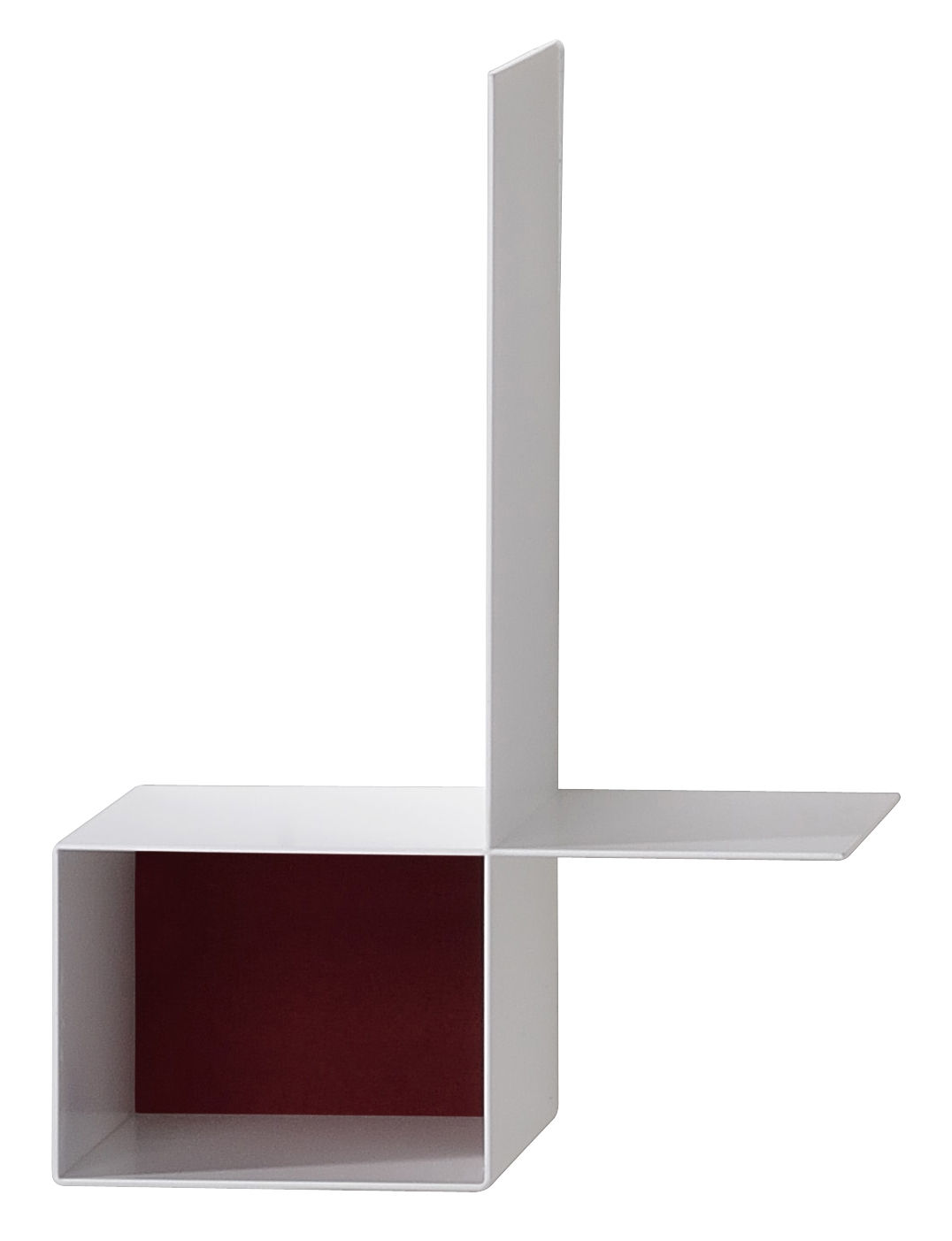 Mobilier - Etagères & bibliothèques - Etagère Randomissimo - Module B / Droite - L 34 cm - MDF Italia - Gauche - Blanc mat / Rouge - Fibre artificielle, Tôle d'acier