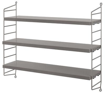 Mobilier - Etagères & bibliothèques - Etagère String Pocket / L 60 x H 50 cm - String Furniture - Gris - Acier laqué, MDF peint