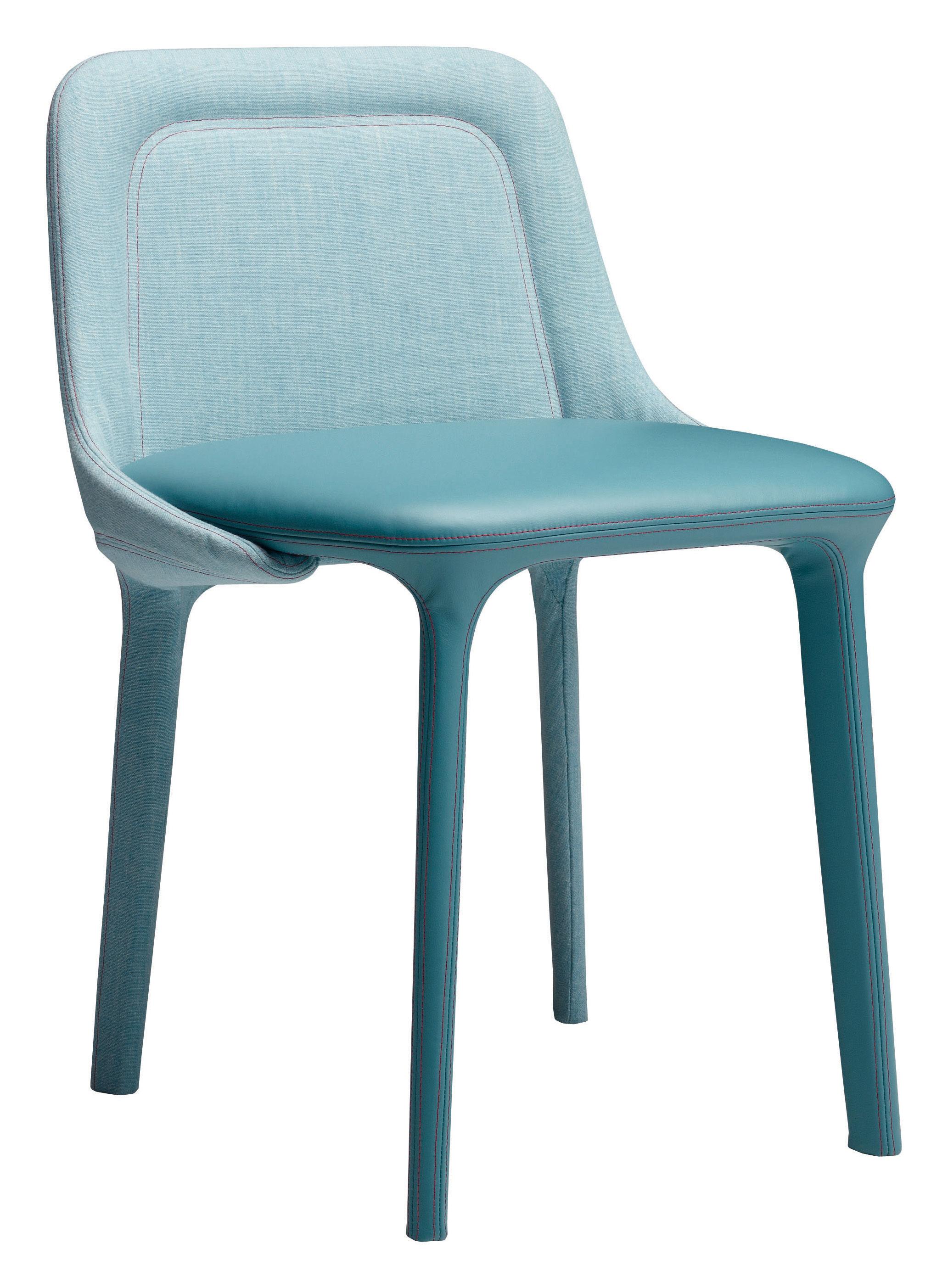 Möbel - Stühle  - Lepel Gepolsterter Stuhl / Stoffbezug & Leder - Casamania - Sitzfläche blaues Leder (Florida) / Rückenlehne blau-melierter Stoff (Willow) - Kvadrat-Gewebe, Leder, Metall, Polyurethan-Schaum
