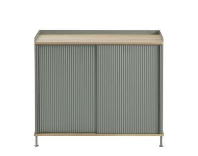 Furniture - Dressers & Storage Units - Enfold High dresser - / Acier & chêne naturel by Muuto - Oak / Antique green - Lacquered steel, Solid oak