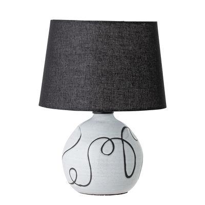 Lampe de table / Tissu & terre cuite - H 40 cm - Bloomingville blanc,noir en tissu