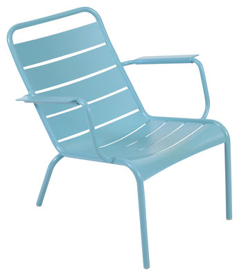 Life Style - Luxembourg Low armchair by Fermob - Turquoise - Lacquered aluminium