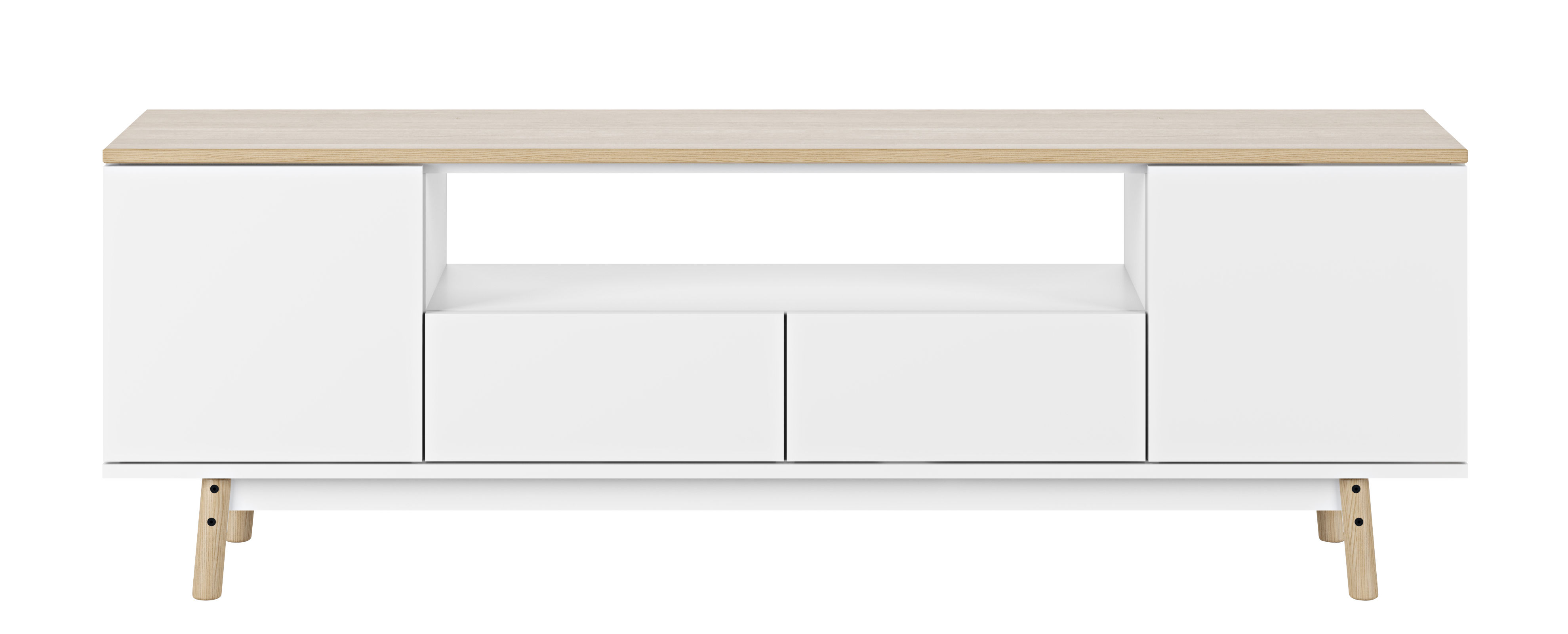 Arredamento - Contenitori, Credenze... - Mobile TV Milan / Rovere - L 185 cm - POP UP HOME - Top rovere / Bianco - Pannelli alveolari, Rovere massello