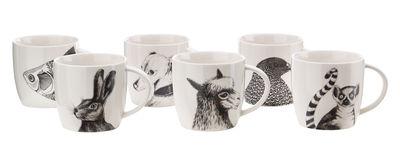 Mug Animals / Set de 6 - Porcelaine - Pols Potten blanc,noir en céramique