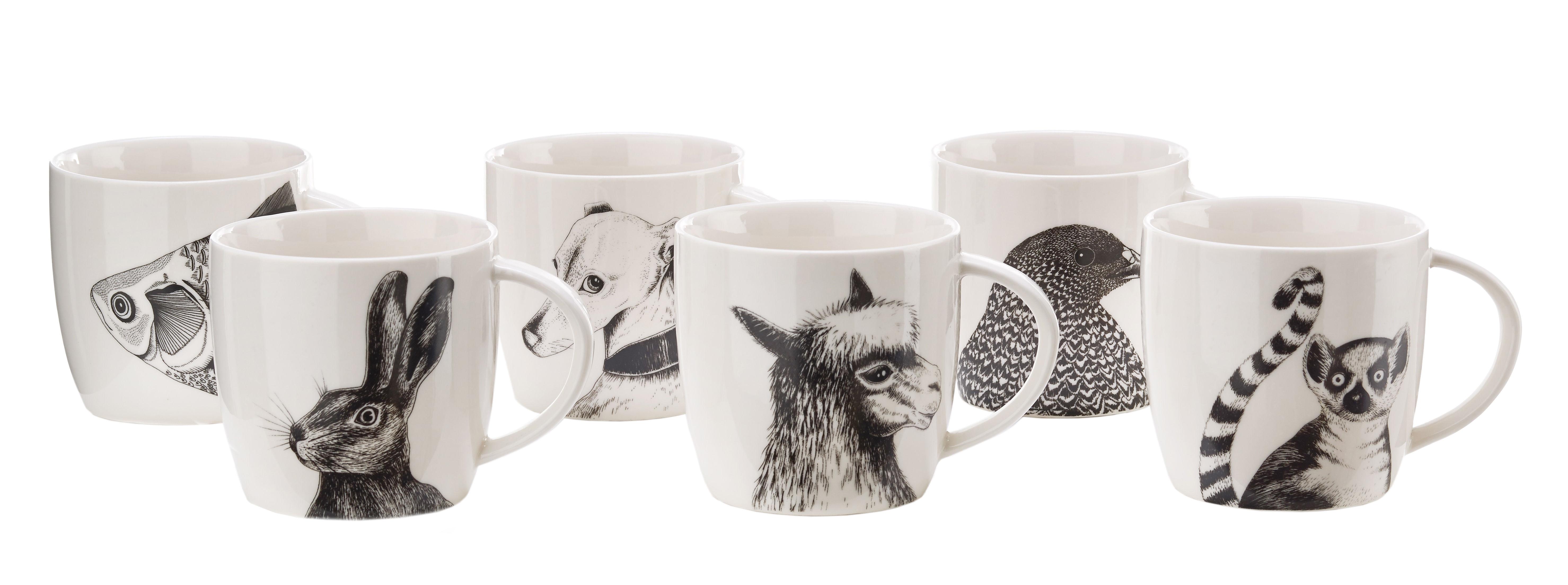 Arts de la table - Tasses et mugs - Mug Animals / Set de 6 - Porcelaine - Pols Potten - Noir & blanc - Porcelaine vitrifiée