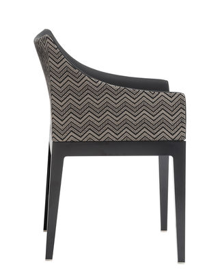 Furniture - Chairs - Madame Padded armchair - Fabric by Kartell - Beige & black  / Black legs - Fabric, Polycarbonate, Polyurethane foam