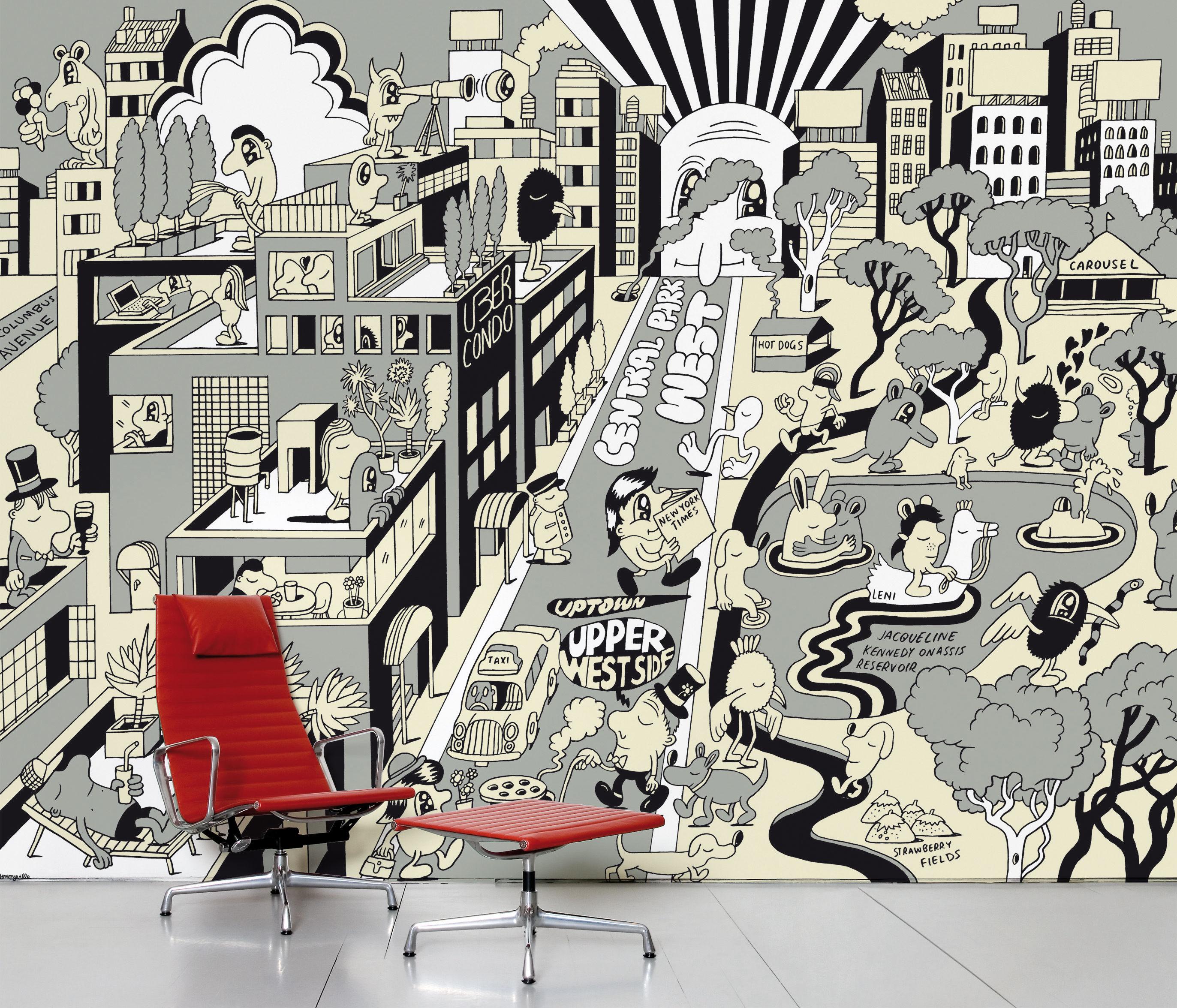 Dekoration - Stickers und Tapeten - Upper West Side Panorama-Tapete 8 Bahnen - Domestic - Grau - imprägniertes Papier