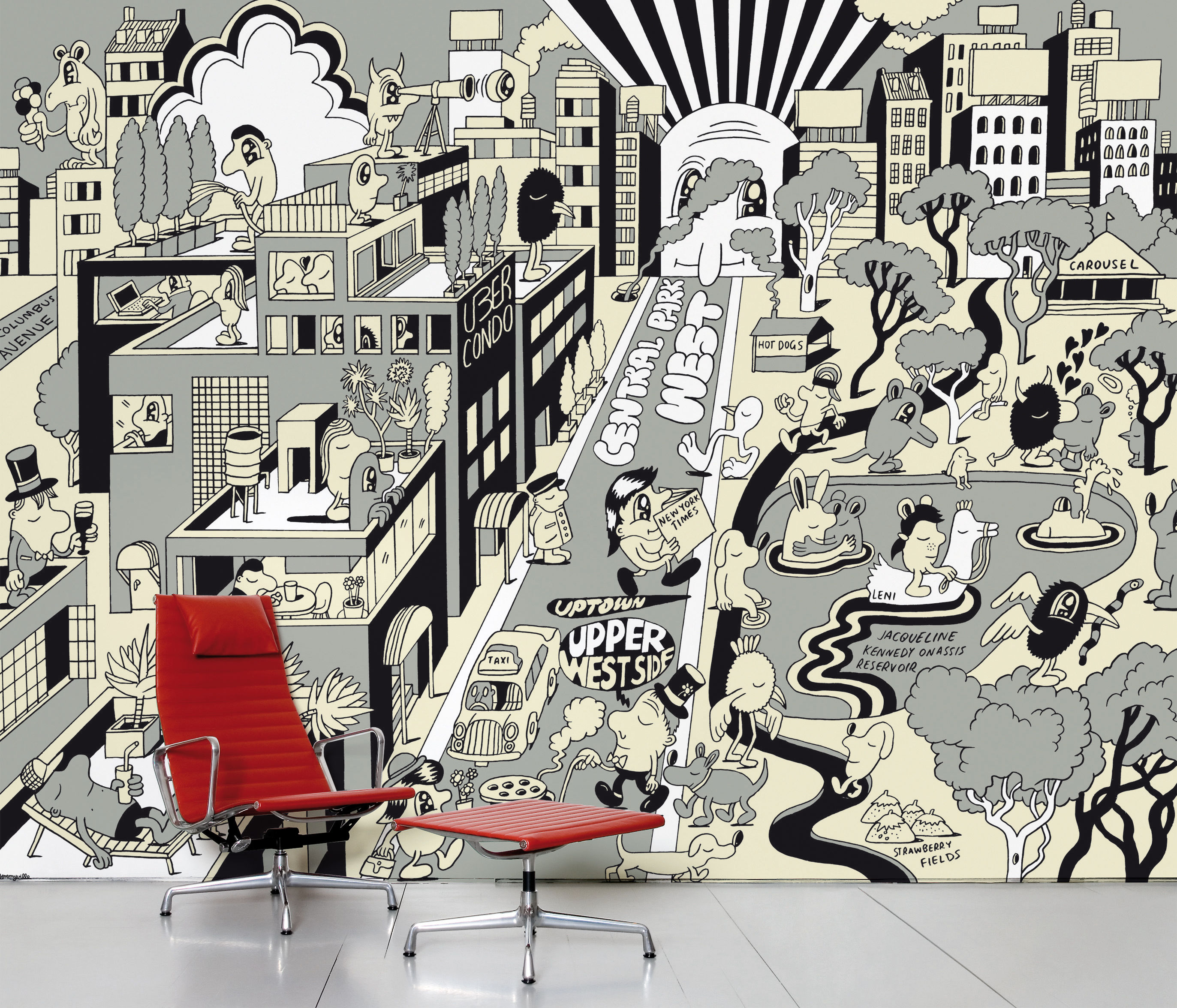 Decoration - Wallpaper & Wall Stickers - Upper West Side Panoramic Wallpaper - 8 panels by Domestic -  - Intisse paper