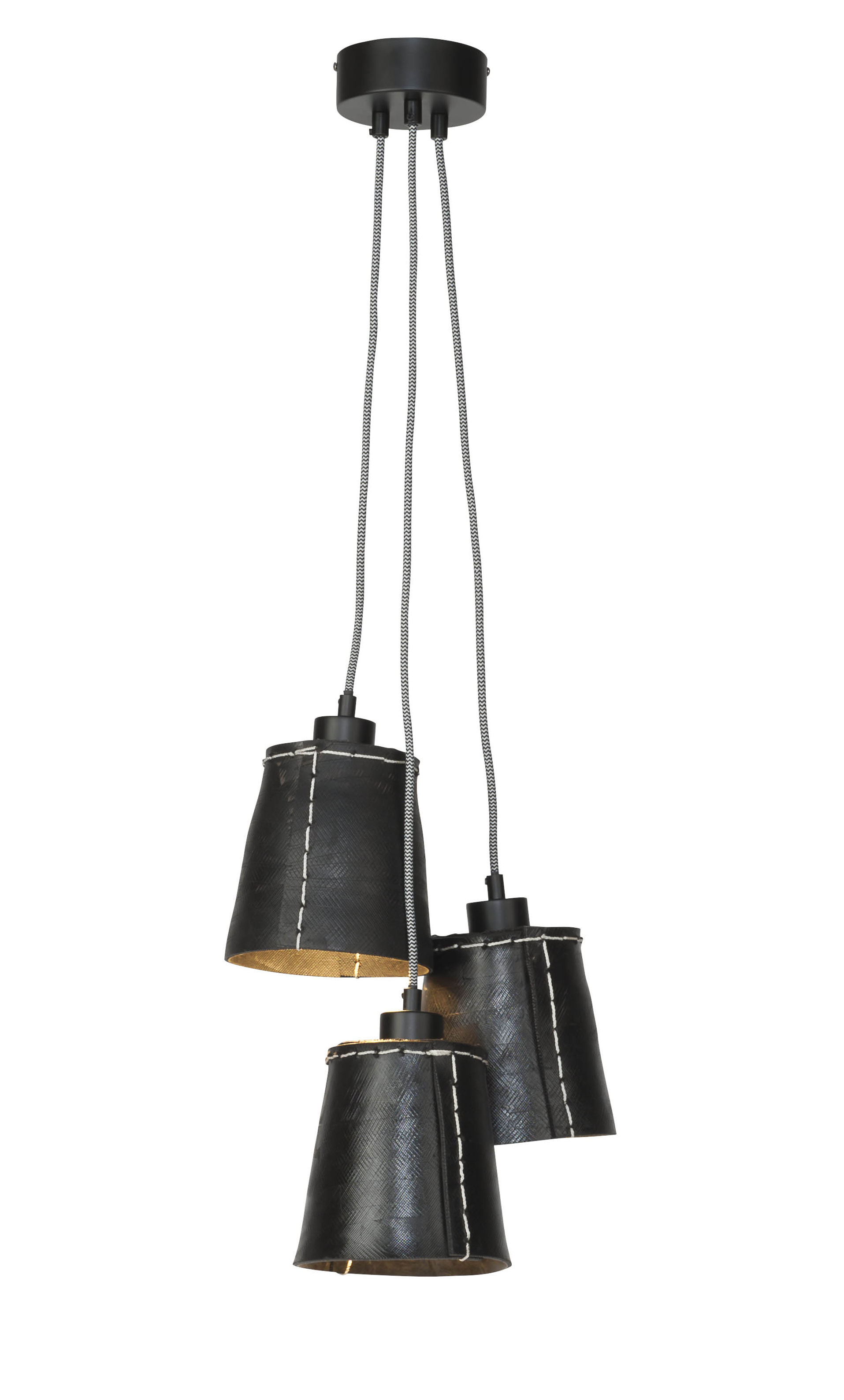 Lighting - Pendant Lighting - Amazon Pendant - / 3 lampshades - Recycled tyre by GOOD&MOJO - Black - Recycled tyre