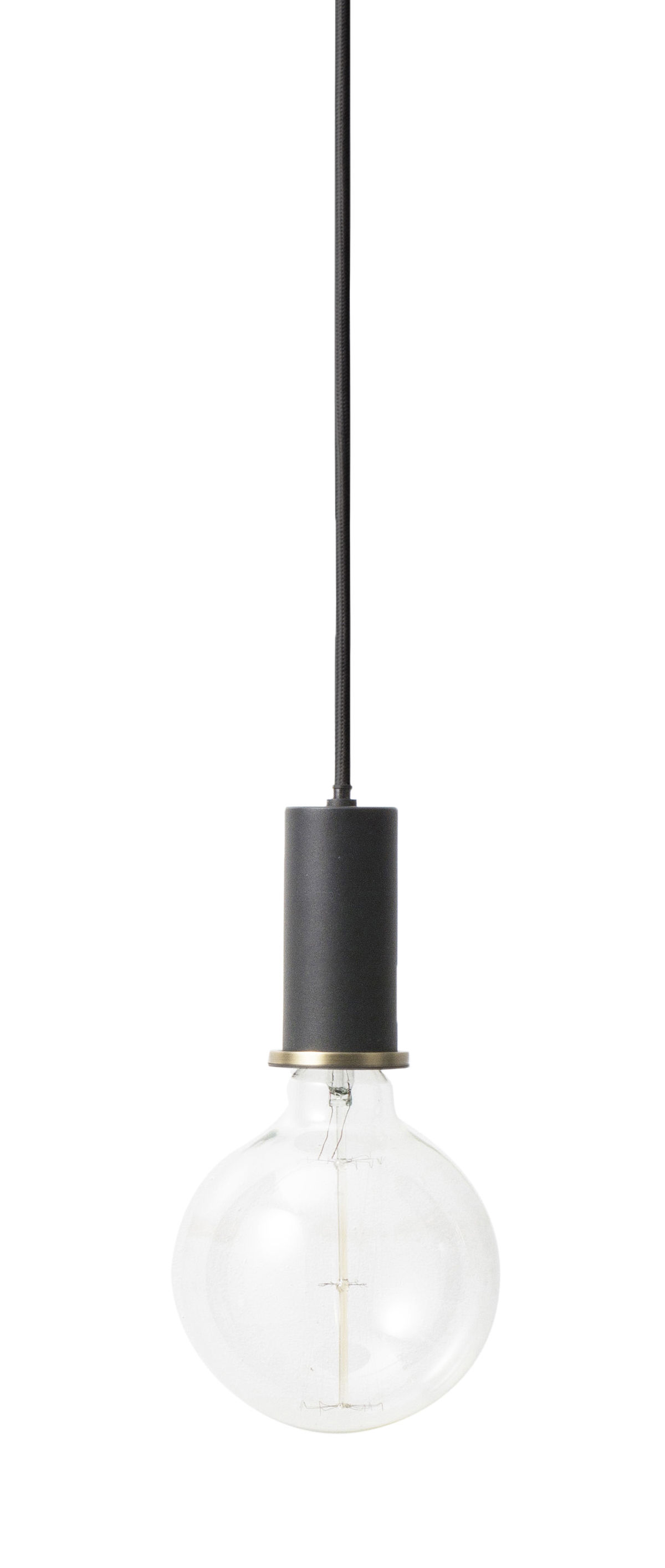 Lighting - Pendant Lighting - Socket Collect Small Pendant - Set wire + socket + canopy by Ferm Living - Set socket / Black - Fabric, Lacquered metal