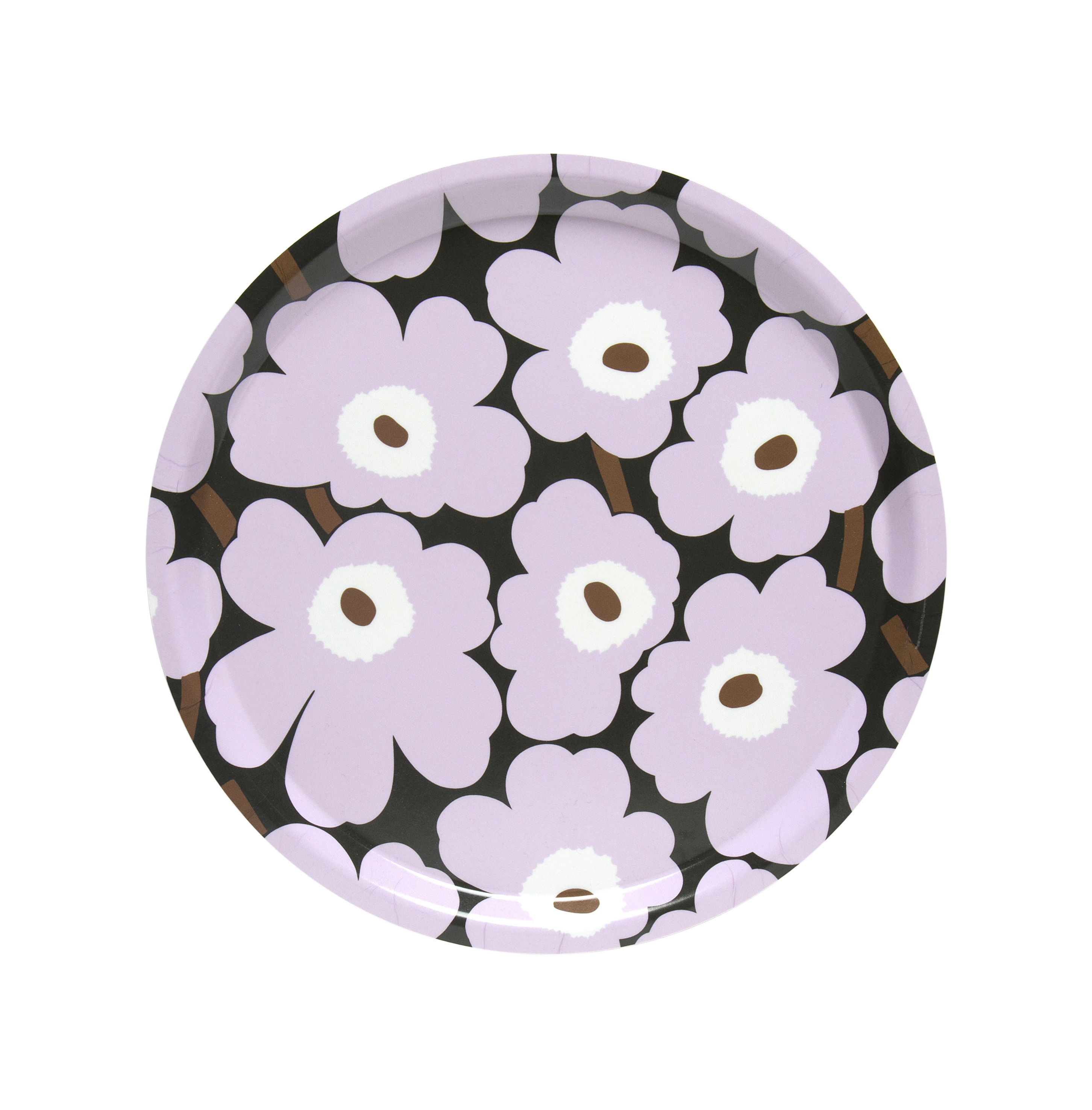 Tavola - Vassoi  - Piano/vassoio Mini Unikko - / Ø 31 cm di Marimekko - Mini Unikko / Rosa, Verde scuro - Laminato di betulla