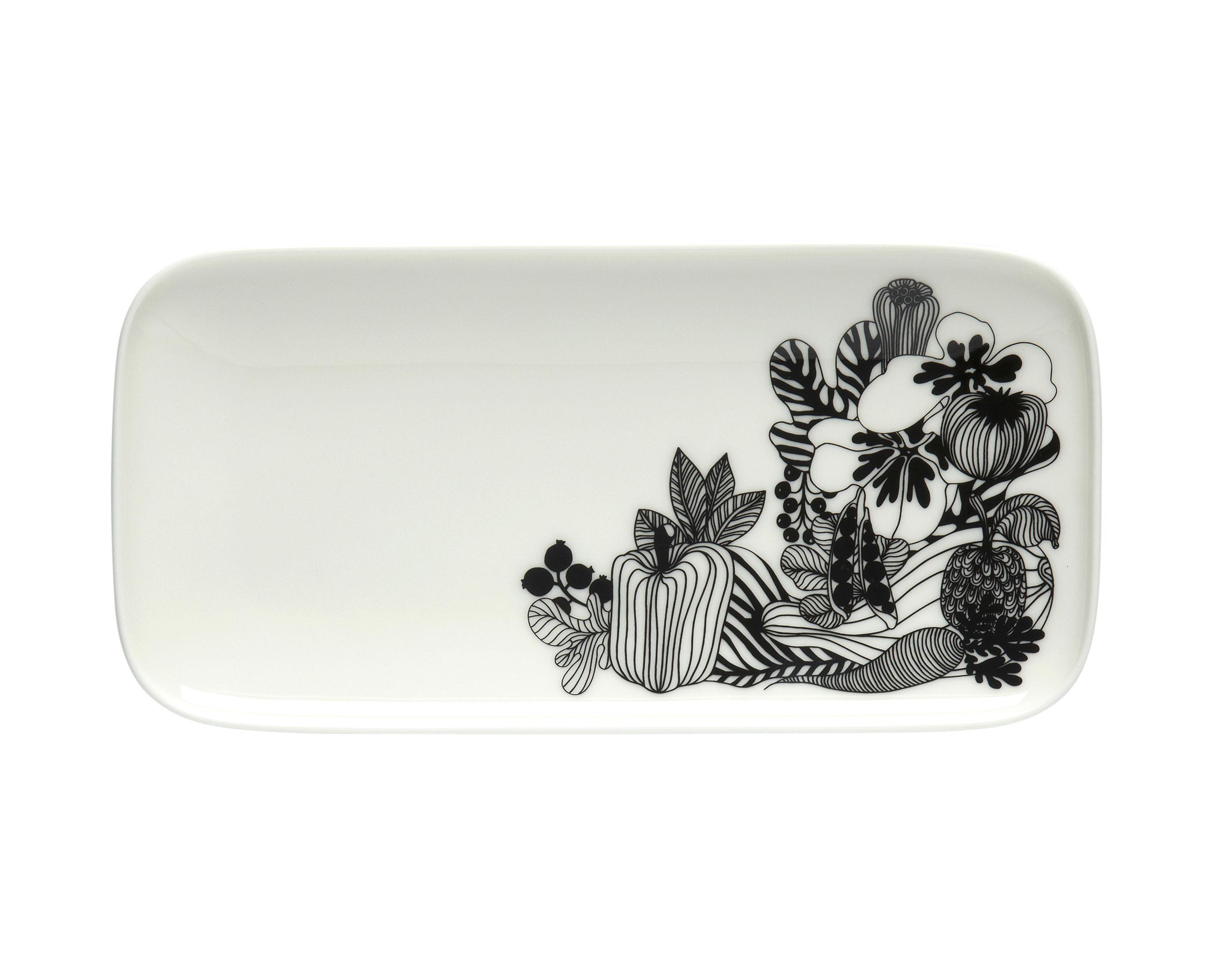 Tableware - Plates - Siirtolapuutarha Plate - / 12 x 24.5 cm by Marimekko - Siirtolapuutarha / Black & white - Sandstone