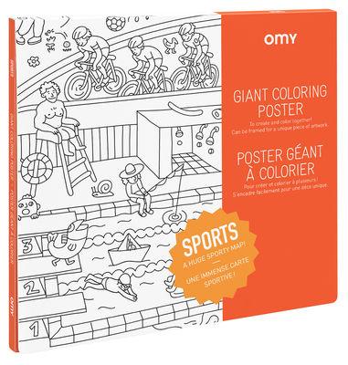 Poster à colorier Sport / 100 x 70 cm - OMY Design & Play blanc,noir en papier