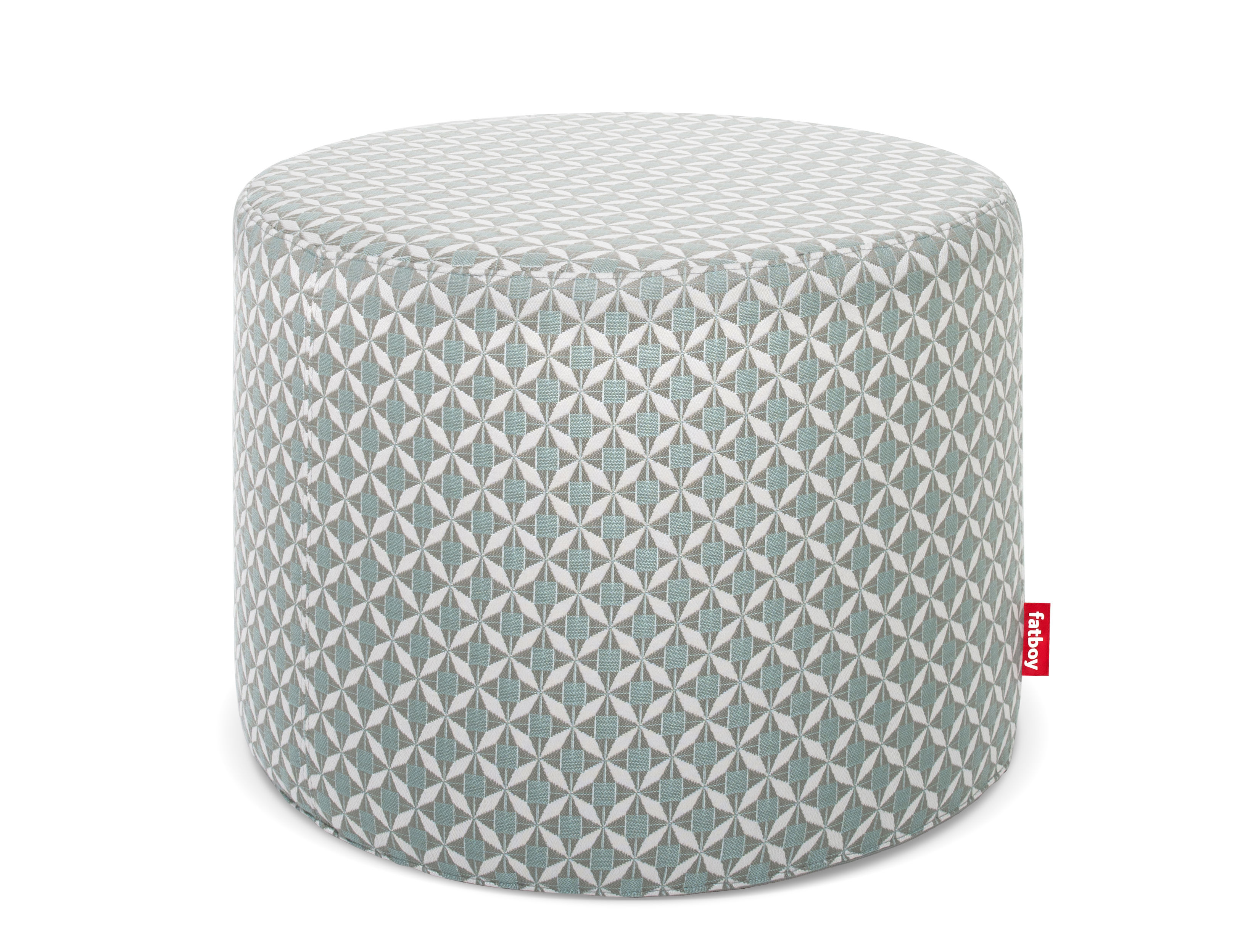 Furniture - Poufs & Floor Cushions - Rondeju Pouf - / For outdoors - Ø 61 by Fatboy - Mosaic / Blue - Foam, Polymer, Sunbrella fabric, Thermoplastic