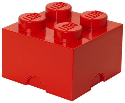 Interni - Per bambini - Scatola Lego® Brick - / 4 bottoncini di ROOM COPENHAGEN - Rosso - Polipropilene