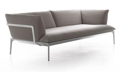 Möbel - Sofas - Yale Sofa 3-Sitzer - L 220 cm - MDF Italia - Beige / Gestell weiß - 3-Sitzer - Aluminium, Gewebe