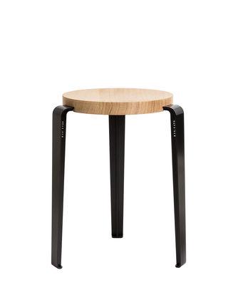 Furniture - Stools - Lou Stackable stool - / H 45 cm - Steel & oak by TipToe - Graphit black / Oak - Powder coated steel, Solid oak