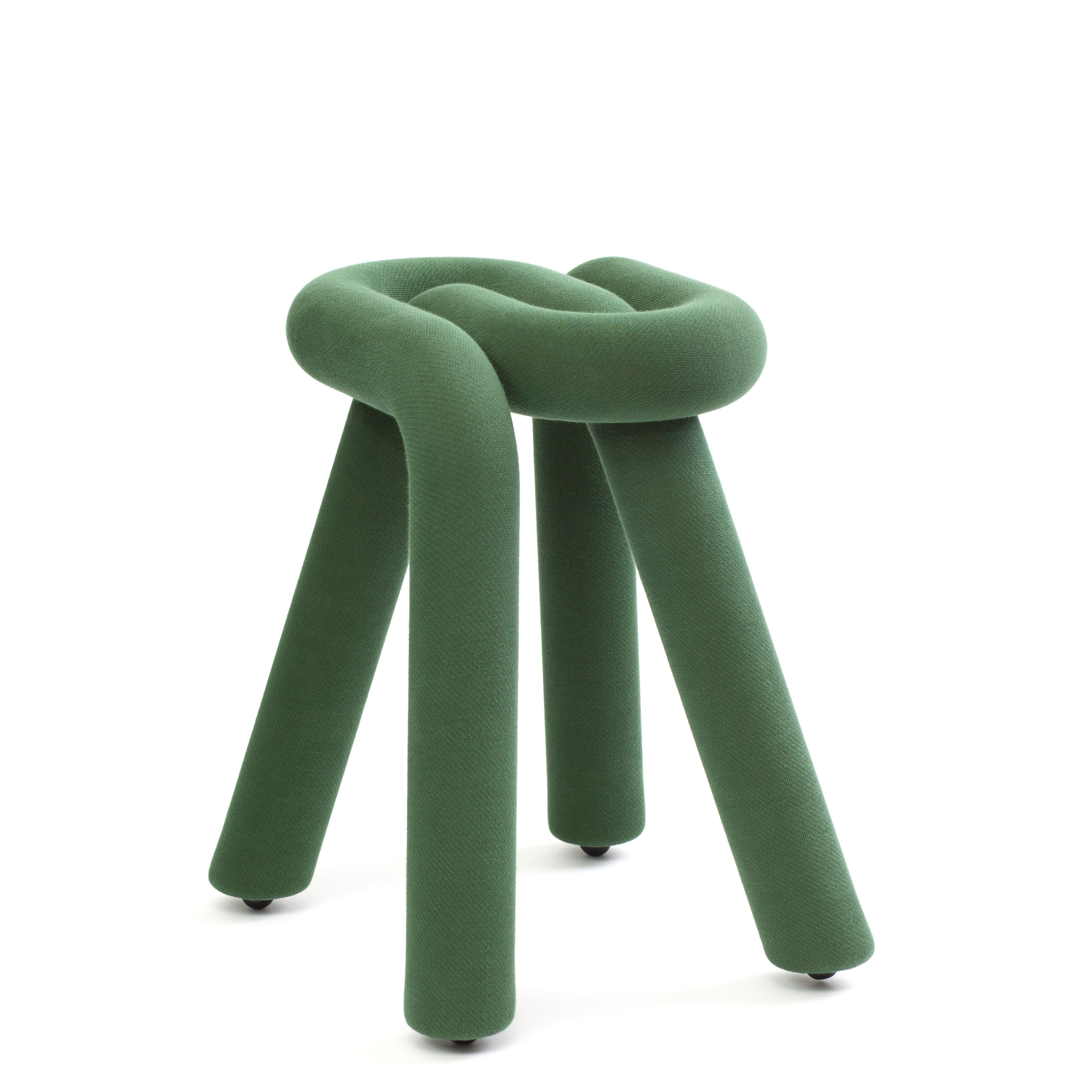 Furniture - Stools - Bold Stool - / Padded by Moustache - Forest green - Fabric, Polyurethane foam, Steel