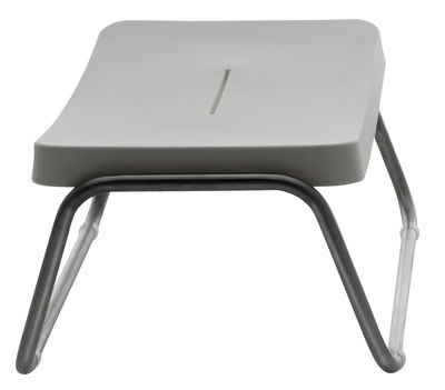 Outdoor - Stools - Time Out Stool by Serralunga - White - Brushed steel, Polythene