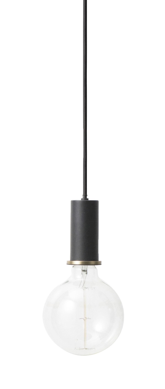 Luminaire - Suspensions - Suspension Socket Collect Small / Set câble + douille + rosace - Ferm Living - Set Câble & douille / Noir - Métal laqué, Tissu