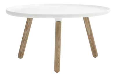 Mobilier - Tables basses - Table basse Tablo Large / Ø 78 cm - Normann Copenhagen - Blanc - Frêne naturel, Matériau composite