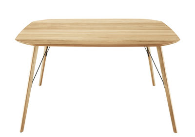 Mobilier - Tables - Table carrée Santiago / 145 x 145 cm - Zanotta - Rouvre naturel - Métal, Rouvre