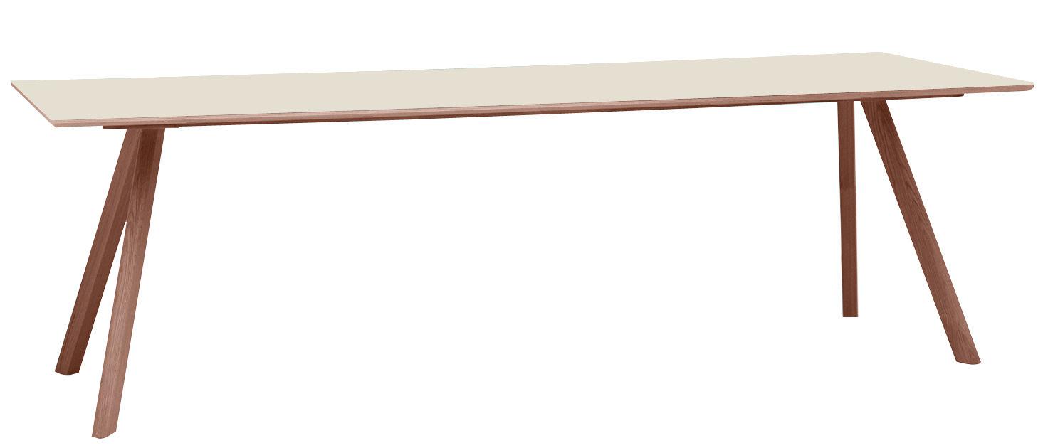 Noël design - Scandinave - Table Copenhague n°30 / 250 x 90 cm - Hay - Blanc / Pied chêne - Chêne teinté, Linoléum