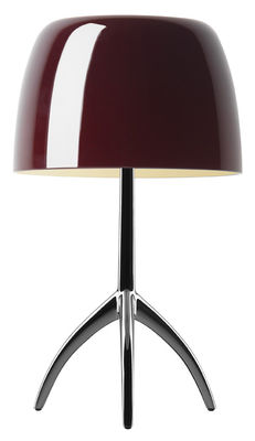 Lighting - Table Lamps - Lumière Grande Table lamp - With dimmer - H 45 cm by Foscarini - Cherry / Black chrome leg - Blown glass, Varnished aluminium