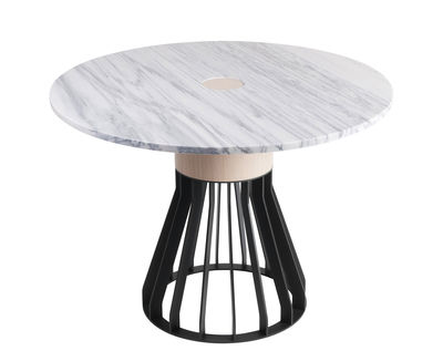 Mobilier - Tables - Table Mewoma / Ø 120 cm - Marbre, chêne & métal - La Chance - Marbre blanc / Pied noir & chêne - Acier laqué, Chêne massif, Marbre