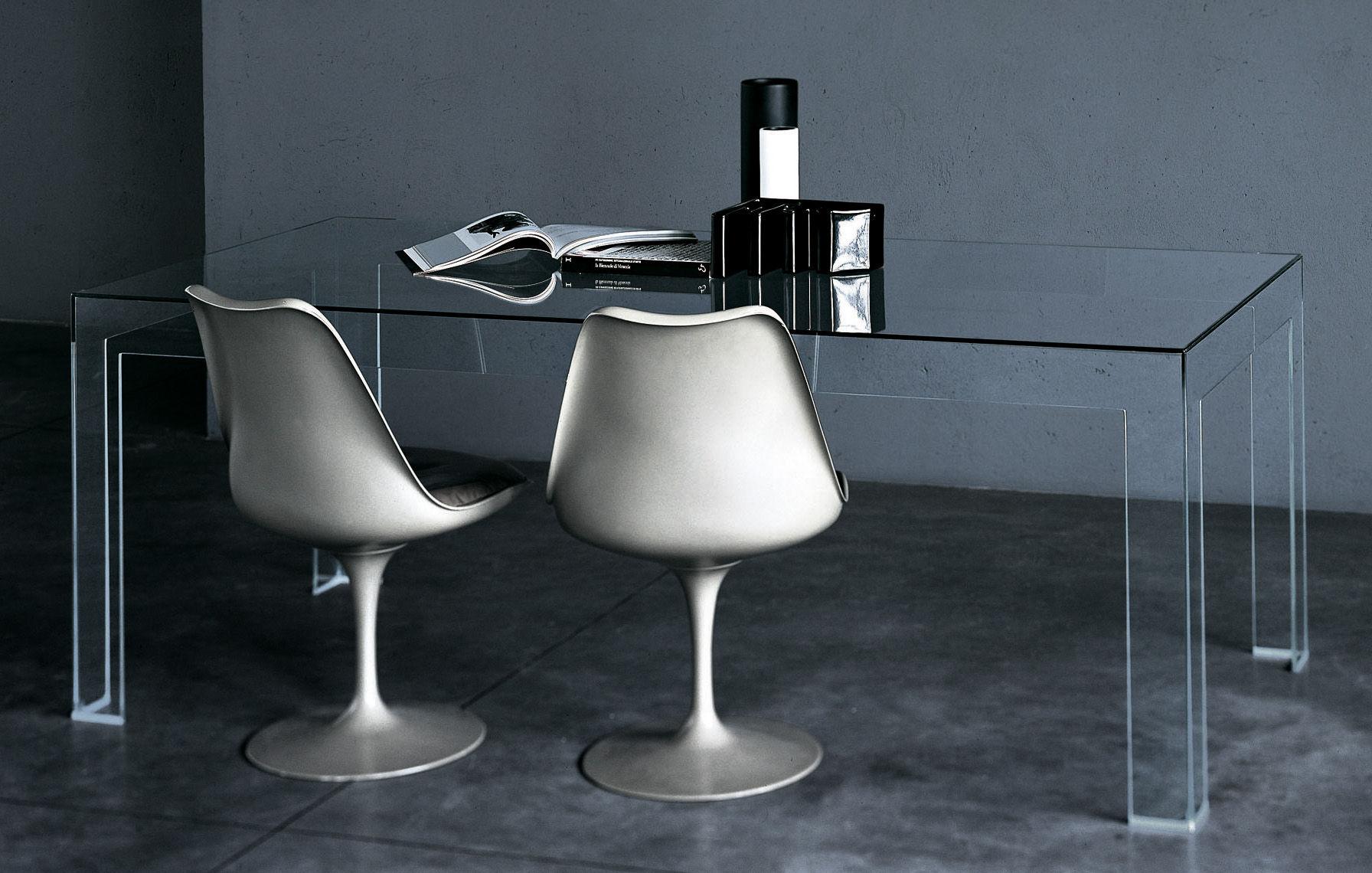 Rentrée 2011 UK - Bureau design - Table rectangulaire Atlantis / 200 x 90 cm - Glas Italia - Plateau rectangulaire  : 200 x 90 cm - Verre