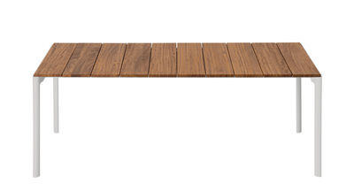 Table rectangulaire Maki / Teck - 199 x 90 cm - Kristalia blanc,teck naturel en métal