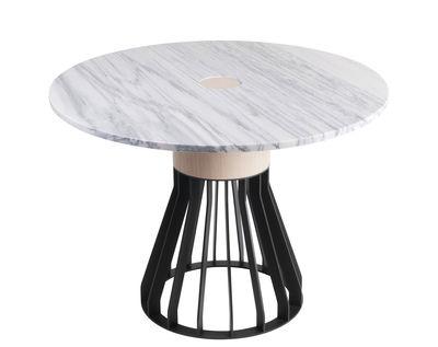 Mobilier - Tables - Table ronde Mewoma / Ø 120 cm - Marbre, chêne & métal - La Chance - Marbre blanc / Pied noir & chêne - Acier laqué, Chêne massif, Marbre