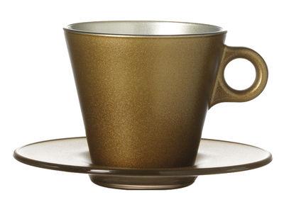 Tasse à cappuccino Ooh ! Magico et sa soucoupe - Leonardo or métallisé en verre