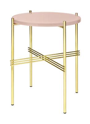 Arredamento - Tavolini  - Tavolino TS - / Gamfratesi - Ø 40 cm x H 51 cm - Verre di Gubi - Vetro rosa cipria / Piede ottone - Ottone, Vetro