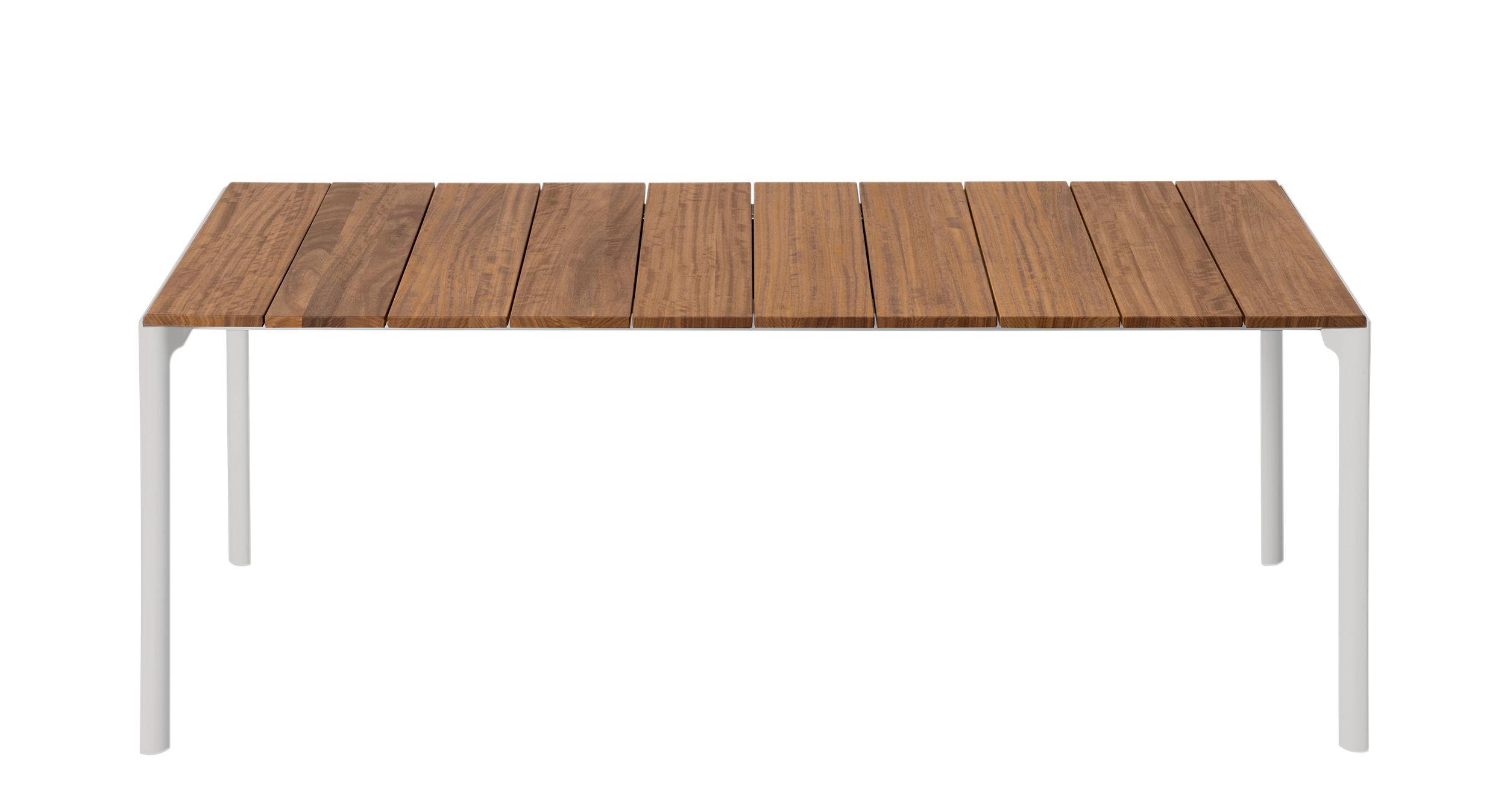 Outdoor - Tavoli  - Tavolo rettangolare Maki - / Teck - 199 x 90 cm di Kristalia - Teck / bianco - Alluminio laccato, Teck