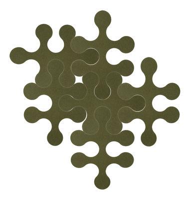 Dekoration - Teppiche - Molécules Teppich / 6-teilig - uni - La Corbeille - Moosgrün - Filz, recycelt