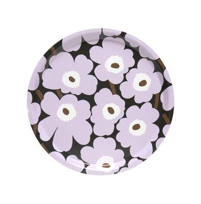 Tableware - Trays - Mini Unikko Tray - / Ø 31 cm by Marimekko - Mini Unikko / Pink, Dark Green - Laminated birch