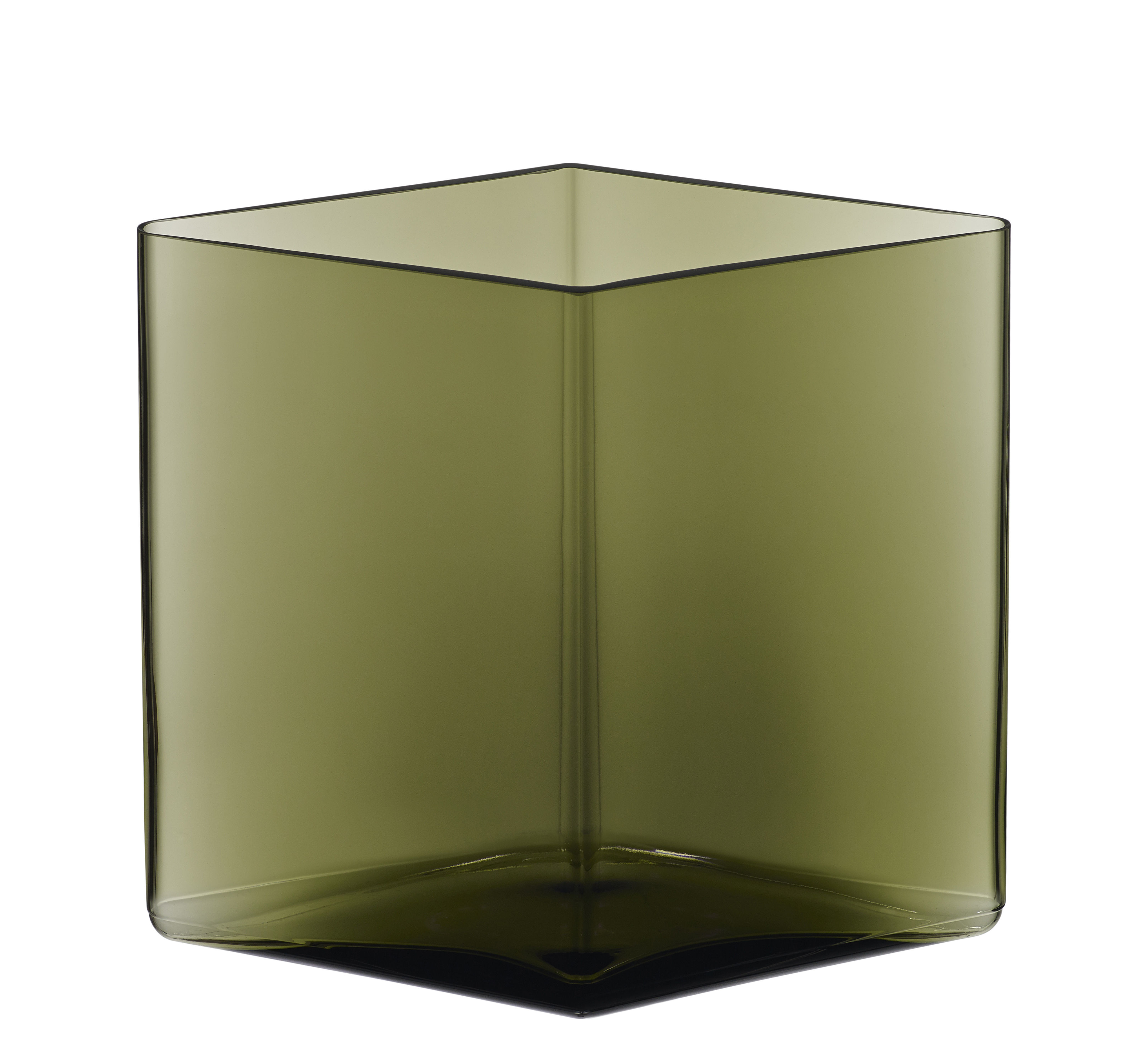 Decoration - Vases - Ruutu Vase - by Ronan & Erwan Bouroullec / 20,5 x 18 cm by Iittala - Moss green - Mouth blown glass